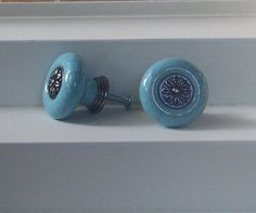Blue Ceramic Knob-Dresser Pull-Drawer Knob-Coat Rack-Set of 2 on Etsy, $12.14 AUD
