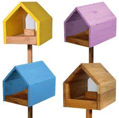 Vogelhaus mit Ständer Eichenholz, Vogelfutterhaus Vogelhäuschen Vogelvilla
