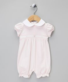 Take a look at this Classy Couture Pink Flower Ruffle Smocked Romper on zulily today!
