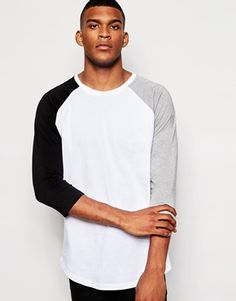 ASOS Skater Longline 3/4 Sleeve T-Shirt With Contrast Ranglan Sleevees