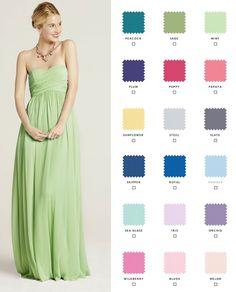 Newly engaged? Request free color swatches to see our shades in person! Check out our 10 gorgeous styles in 18 colors so your bridesmaids can mix and match.