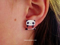 Ive said before why buy from Etsy when you can make it yourself, but i might just have to buy these. Tare Panda clinging earrings Two part front and by FangirlyStorm, $7.95