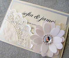 Invitación de la boda del tapetito del cordón elegante del bolsillo