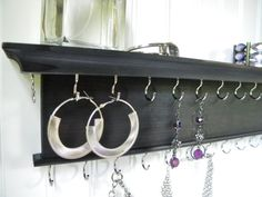 "18"" Necklace Bracelet Holder Jewelry Organizer - Modern Rustic Design - Wall Mounted Necklace Hanger Black Finish - Handmade - Cedar Wood"