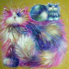 Kim Haskins Cats | cherry berry cherry berry unframed 650 00 60 x 60cm original painting ...