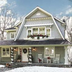 This 1912 shingle-style home is decorated for Christmas. See how a top-to-bottom redo turned it this summer cottage into a year-round gathering spot for the whole family | Photo: Susan Gilmore