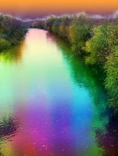 """""""Rainbow river"""" in Slovak republic :) fantasy Rainbow River, Northern Lights, Fantasy, Water, Travel, Painting, Outdoor, Gripe Water, Outdoors"""