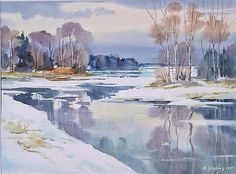 Maria Ginzburg -- very simple and minimal but every touch to an optimal point. Art Aquarelle, Watercolor Water, Watercolor Landscape Paintings, Watercolor Pictures, Simple Watercolor, Painting Snow, Winter Painting, Winter Art, Winter Landscape