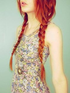 Sexy Pigtails braid, red hair,copper