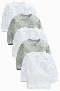 קנה חמש חולצות טי בסיסיות בצבעי לבן ואפור עם שרוול ארוך במארז (3 חודשים-6 שנים) היום ברשת נקסט ישראל