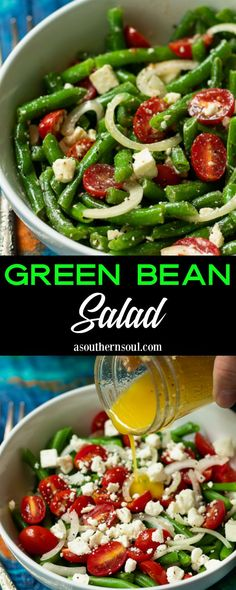 Fresh green beans tossed in a bright, lemony dressing with tomatoes, onions, and feta cheese make an irresistible salad! This clean and simple recipe is ideal served as a side dish for a weeknight meal and is always welcome on a holiday buffet. Bean Salad Recipes, Green Bean Recipes, Salad Dressing Recipes, Healthy Salad Recipes, Simple Green Bean Recipe, Fresh Salad Recipes, Salad Dressings, Vegetarian Recipes, Green Bean Salads