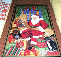Santa Christmas Fabric Panel by Timeless Treasures by DollmakerNic, $10.00
