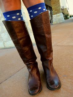 Polka dot knee socks with riding boots- oh so, fun