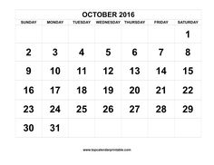 october 2016 calendar printable with holidays free to download and