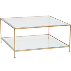 Quadro 2-Tier Square Coffee Table, Gold
