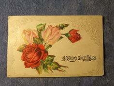 Us Postcard Birthday Greetings Embossed Swans On Lake Red Roses In Bloom Best Birthday Wishes, Happy Birthday Greetings, Birthday Postcards, Birthday Cards, Vintage Cards, Vintage Postcards, Red And Pink Roses, Vintage Birthday, Vintage Flowers