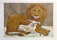 "Lion & Lamb Christmas card by Digilio Designs. Inside message = ""May the joyful glow of peace warm your home this holiday season and the coming year."""