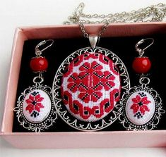 Items similar to Micro embroidery set Red Ukrainian embroidery of Necklace and Earrings, Hand Embroidery, Gift for women, embroidered jewelry on Etsy Beads Jewelry, Palestinian Embroidery, Collars, Romantic Gifts, Women Jewelry, Unique Jewelry, Cross Stitching, Hand Embroidery, Gifts For Women
