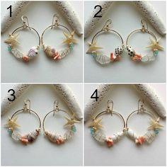 Starfish Hoop Earrings Sea Glass Earrings por BellaAnelaJewelry
