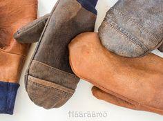 Hääräämö: Rukkasia nahkatakeista Bearpaw Boots, Hobbies And Crafts, Sewing Tutorials, Mittens, Scrap, Socks, Knitting, Leather, How To Wear