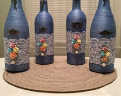 Hand wrapped wine bottle bottle beach ocean sea themed