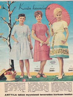 Kaikkea kaunista menneiltä ajoilta. 1960s Fashion, Women's Fashion, Fashion Outfits, 60s Dresses, Miss Marple, Good Old Times, Dress Suits, Finland, Pastels