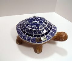 Mosaic Turtle for Garden or Home  Blue Willow by pinetreemosaics, $60.00