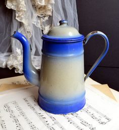 Vintage French Blue Beige Enamelware Coffee by shabbyfrenchvintage