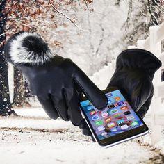Manusi elegante de iarna, pentru exterior, pentru femei, calduroase si cu captuseala de plus, din piele ecologica, cu touch screen