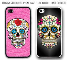 Personalized Pink Mayan Floral Skull Rubber Case Cover For Iphone X 8 7 6S Se 5S