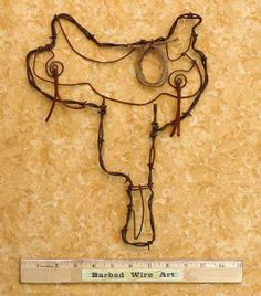 barbed wire art | Barbed Wire Art ~ Country Western Cowboy Horse Farm and Ranch Wall ...