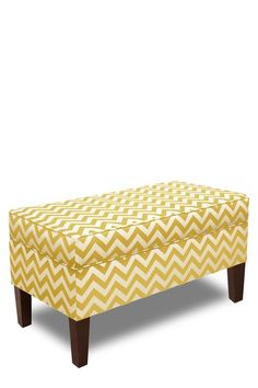 Gold Coast Furniture Collection  Upholstered Storage Bench - Zig Zag Yellow