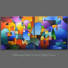 Custom Original Abstract Acrylic Painting, 36x72 inches, Geometric Diptych Abstract Urban Paintings Sally Trace