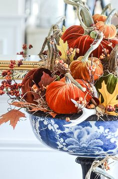 Create one spectacular fall arrangement this year and use velvet pumpkins and a bit of chinoiserie! Fall does not always mean using orange! Faux Pumpkins, Velvet Pumpkins, White Pumpkins, Autumn Decorating, Pumpkin Decorating, Decorating Ideas, Fall Home Decor, Autumn Home, Casa Magnolia