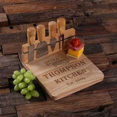 Cheese Set: Knives & Etched Bamboo Cutting Board