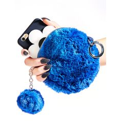 Totally Blue Faux Fur Pouch ($15) ❤ liked on Polyvore featuring bags, handbags, clutches, round purse, blue clutches, blue handbags, pouch purse and faux fur purse