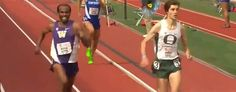 Oregon's Tanguy Pepiot loses a race after celebrating too early. (YouTube)