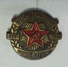177.68) YUGOSLAVIA Partisan 6th Proleterian Division Nikola Tesla lapel pin