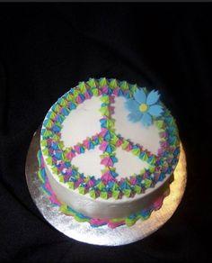 Peace Sign Cakes, Peace Cake, Cupcakes, Cake Cookies, Cupcake Cakes, Woodstock, Hippie Cake, Hippie Birthday, Birthday Cake Girls