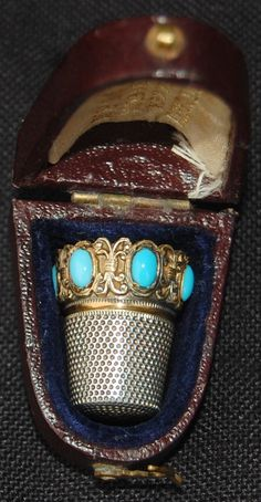 Antique Lotthammer Stutzel Sterling Silver Thimble (1900 Vintage Gilt Thimbles with Turquoise Stones, Fitted Leather, Velvet & Silk Lined Case)