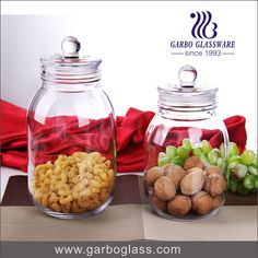 Wholesale Price Colored glass dry food storage jar candy bean glass with lid