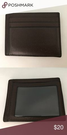 Coach Card Holder Leather material. Color dark brown. Coach logo. Clear slot for cards. 7 slot storage. * Negotiable on price just let me know * Coach Accessories Key & Card Holders
