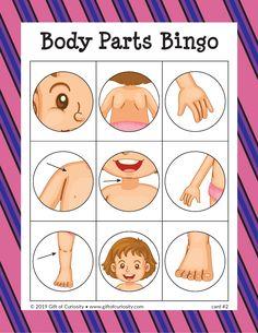 Body Parts Bingo - Gift of Curiosity Water Play Activities, Toddler Learning Activities, Preschool Activities, Kids Learning, Listening Activities, Body Parts For Kids, Body Parts Preschool, Human Body Parts, Bingo For Kids