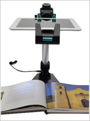 Justand V2e (with Electronics Module and Light) ($139.00) The Justand transforms your iPad into a scanner, a document camera, a video camera holder, a video conference center, a music stand, an iPad podium and much more! http://learninginhand.com/blog/2013/10/5/ipadtablet-document-camera-stand-version-2