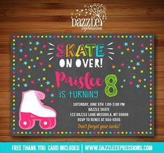 Printable Roller Skating Chalkboard Birthday Invitation - Roller Blading Party - Disco Party - FREE thank you card  Printable Chalkboard Roller Skating Party Birthday Invitation | Girl Birthday Invite | Roller Skate #Birthday #Blading #Card #Chalkboard #Disco #Free #Invitation #Party #Printable #roller #skating