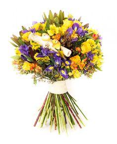 Buchet mix floral, plin de frezii si irisi, colorat si foarte vesel!
