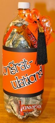 "You could also forego the cash and simply fill the bottle with ""100 Grand"" candy bars and get a little creative with the label. Maybe say ""Congratulations! Here's 100 Grand to celebrate."""