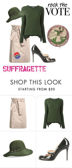 """Rock the Vote: Suffragette Style"" by raspberry-stegosaurus ❤ liked on Polyvore featuring Emilio Pucci, Alexander McQueen, Betmar, Christian Louboutin and rockthevote"