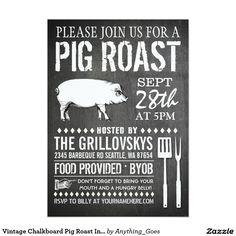 Pig pickin invitation wording google search bbq pinterest vintage chalkboard pig roast invitation 5 x 7 invitation card stopboris Images