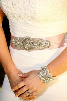 Bridal Crystal Embellished Sash and Bracelet #weddbook #wedding #fashion
